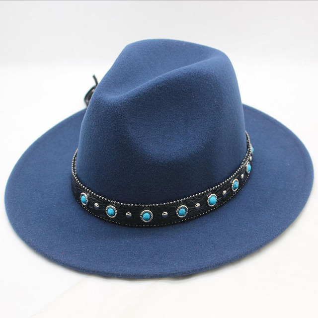 2e17406cba8 BINGYUANHAOXUAN Autumn Winter Sun Hat Women Men Classic Wide Brim Fedora  Hat Floppy Cloche Felt Cap
