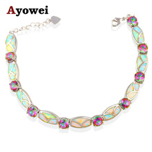 Love Gifts Rainbow Mystic Crystal Charm Bracelets White Fire Opal Silver Stamped Wholesale Retail Fashion Jewelry OB047A