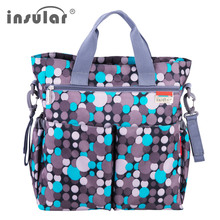 (insular) large capacity dot style baby nappy care handbag nylon waterproof maternity mummy diaper bag baby strollers bags