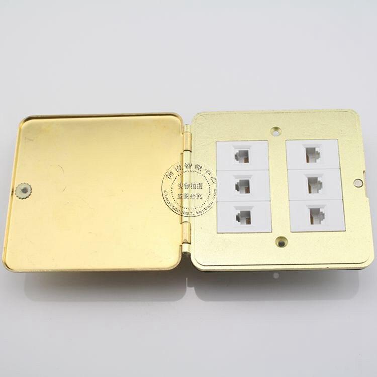 3 Ports Network RJ45 Cat5e & 3 Ports RJ11 Cat3 Telephone Ground Outlet Flip Type Floor Socket 24 pcs rj45 modular network pcb jack 56 8p w led 4 ports