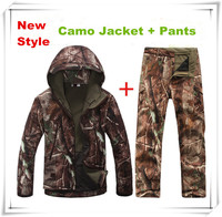 Shark Skin Softshell Camouflage Jacket Suit Outdoor Hunting Tactical Fleece Casual Camo Clothing Jacket Pants