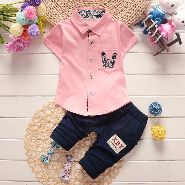 3f64b4626c8a4 US $11.42 12% OFF|baby boy summer shirt + pants two piece suit 2019 new  Korean Shirts Shorts 0 1 2 3 4 5 year old-in Clothing Sets from Mother &  Kids ...