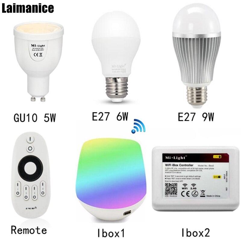 5w 6W 9W GU10 E27 Milight LED Dual white bulb lamp CCT AC85-265V & 2.4G 4 Zone Remote control dimmer&wifi ibox app controller milight 5w gu10 dual color temperature led bulb spotlight without remote