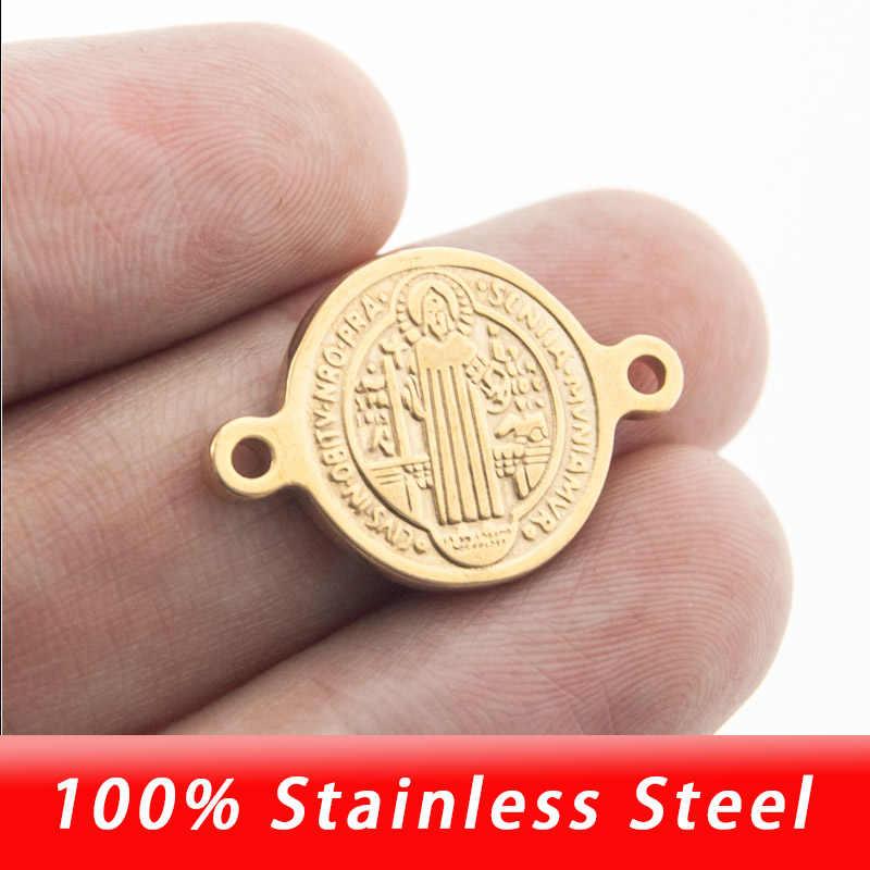57589606e029 Acero inoxidable oro/plata 1/2/3 agujeros de lazo San Benedict medalla Cruz  colgante DIY encanto para pulsera collar al por mayor 10 piezas