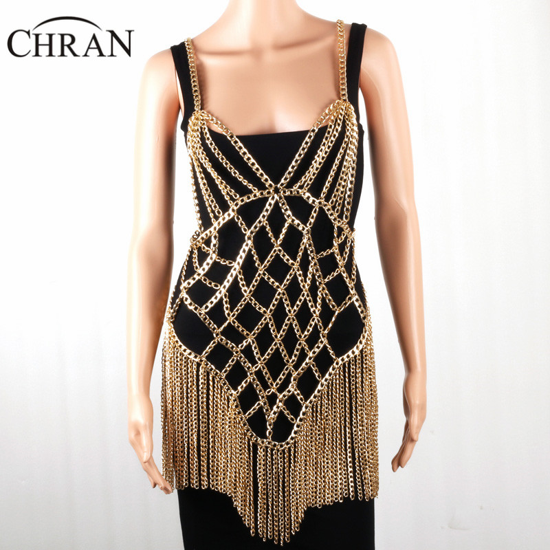 Chran Gold Sexy Beach Chain Women Harness Necklaces Tassel Alloy Halter Necklace New Female Chain Bra Lingerie Fashion Jewelry stylish solid color chain tassel alloy necklace for women