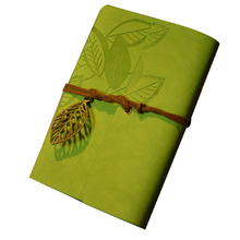 Vintage Design Leather Cover with Strap and Accessories Leaf White Pages Diary Notebook Note Pad Memo Agenda Notebook - Green(China)