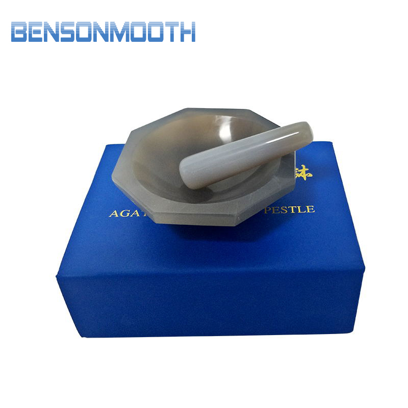 ID: 90mm High Quality Natural Agate Mortar And Pestle For Lab Grinding