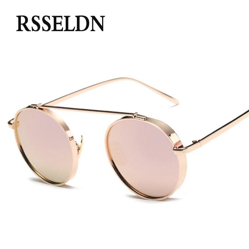 43ee04e211fce3 RSSELDN Date De Mode Ronde lunettes de Soleil Femmes Marque Designer  Lunettes de Soleil Pour Les Femmes Steampunk Lunettes De Soleil Hommes  oculos de sol