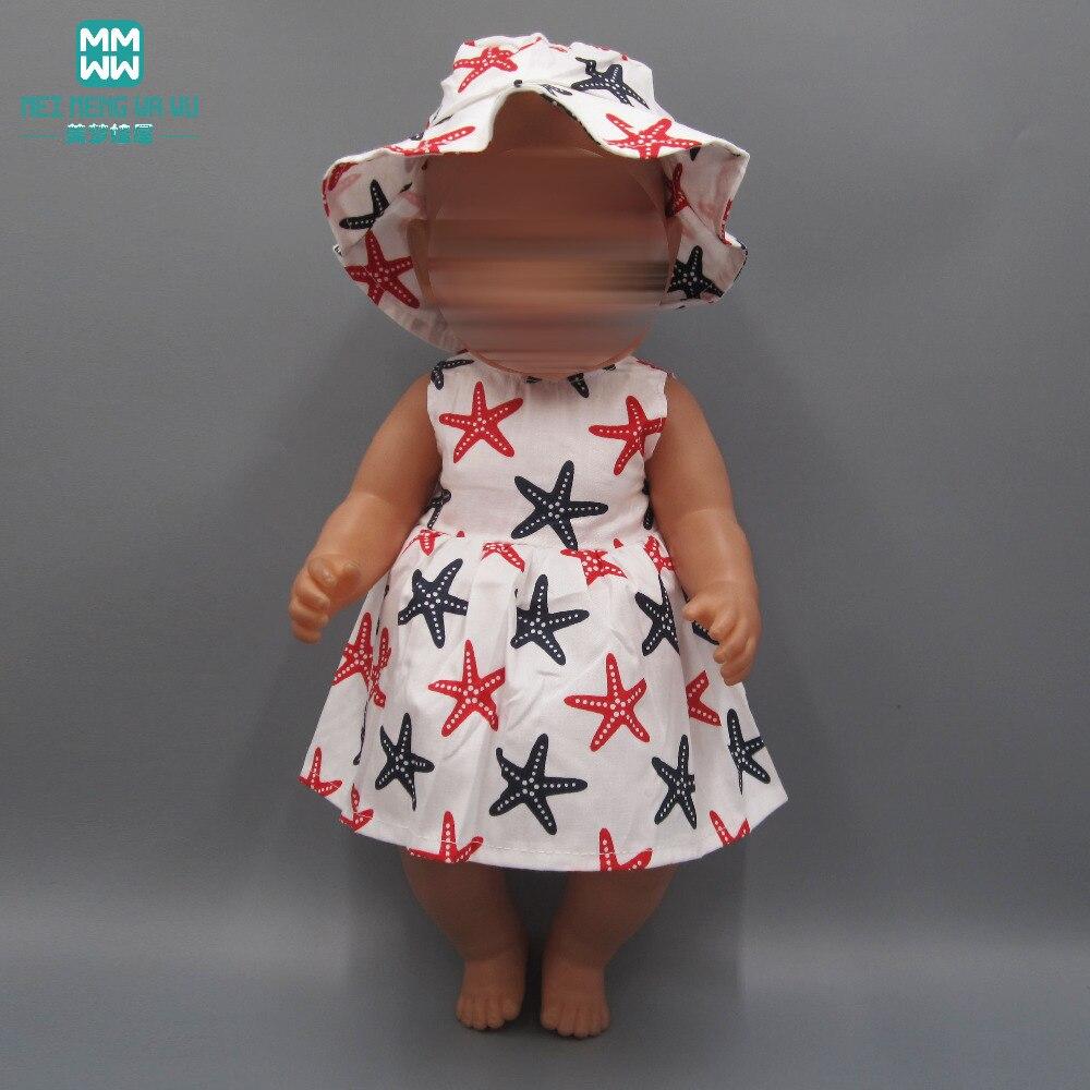 Doll Clothes For 43 Cm New Born Dolls Accessoires Baby Dress Pentagram Pure Cotton Dress + Hat