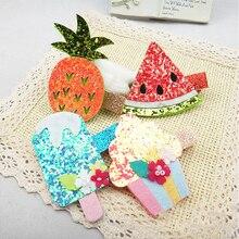 new 1 piece Hairpin  Cute Fruit Coarse gold powder Korean version Children Side clip Ice cream Hair accessories