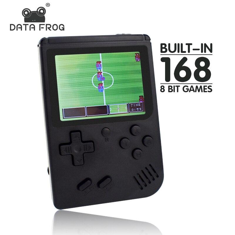 Dados Sapo Retro mini game console construído em 168 retro 8 jogos bit AV out Portátil Handheld Do Jogo melhor presente para as crianças