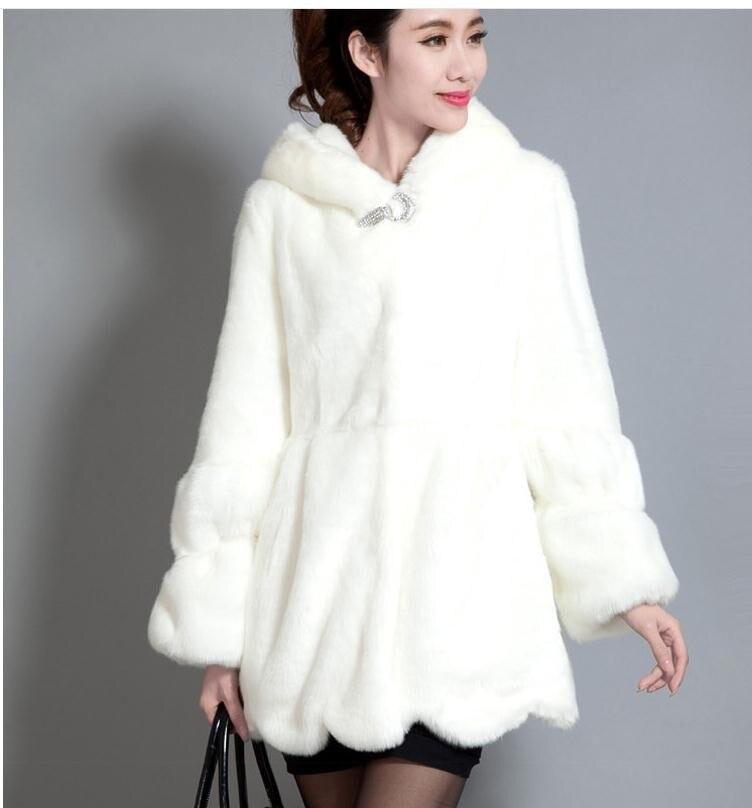 blanc Hoodies D'hiver Noir Femmes Long Vestes Décontracté black De Fourrure White Fausse Taille Femelle Grande Manteaux 2019 K52 Lapin Automne Et qx5Iww