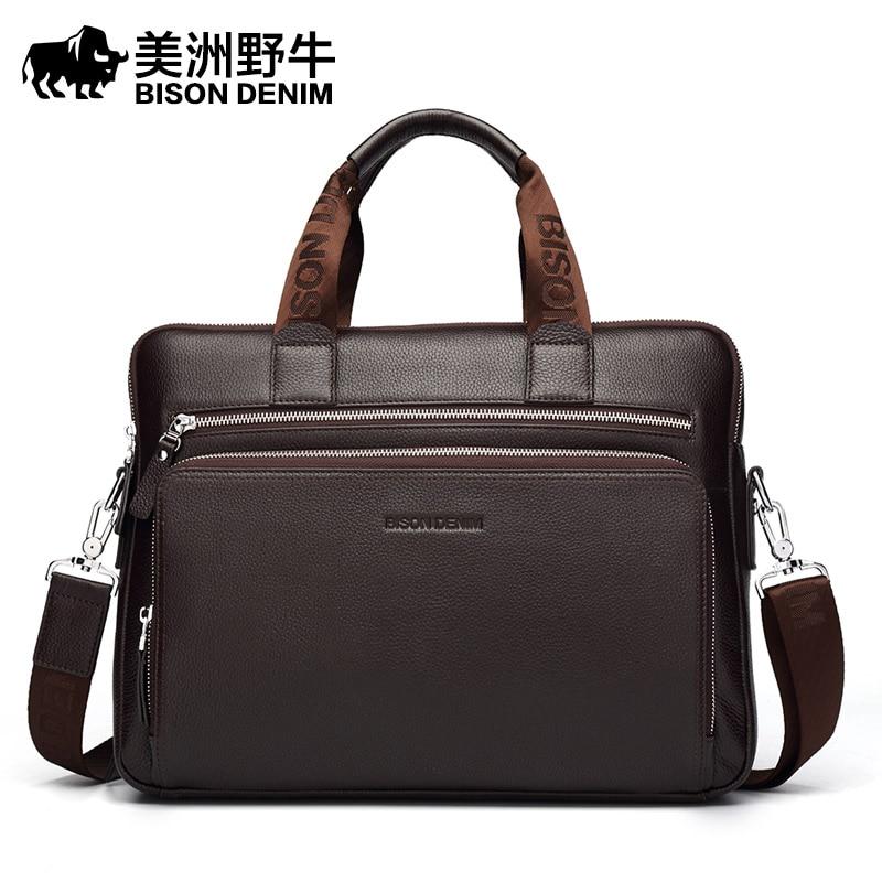 BISON DENIM Brand Handbag Men Shoulder Bags Genuine Leather Briefcase Cowhide Messenger Bag Men's Business Travel Laptop Bags