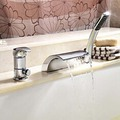 Contemporary Chrome Finish Brass Tub Faucet Mixer Tap with Hand Shower