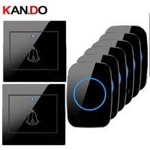 Anillos 2 emisores + receptores opción Timbre Inalámbrico kits por timbre de puerta 110 220V timbre de puerta a prueba de agua 300M timbre de puerta Campana Negra
