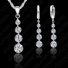 Romantic 925 Sterling Silver Link Chain Crystal Pendant Jewelry Set For Women Choker Wedding Jewelry Set(China)