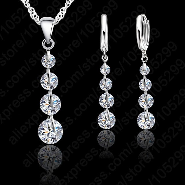 Classic Linear Crystal Pendant In Sterling Silver With Matching Earrings