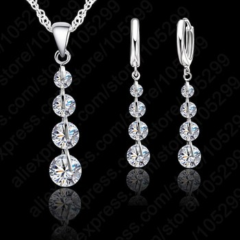 Romantic 925 Sterling Silver Link Chain Crystal  Pendant Jewelry Set  For Women Choker Wedding  Jewelry Set square crystal leather choker 925 sterling silver pendant necklace for women fashion silver choker jewelry necklaces for girls