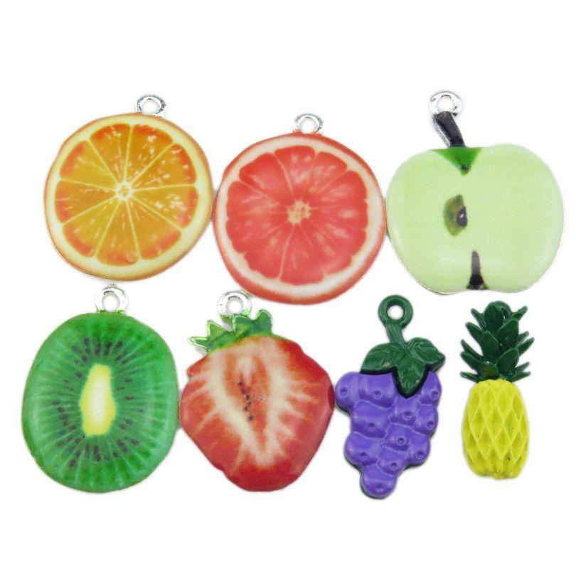 4 Apple Charms Antique Silver Tone Fruit Pendants Food Findings Vegetarian