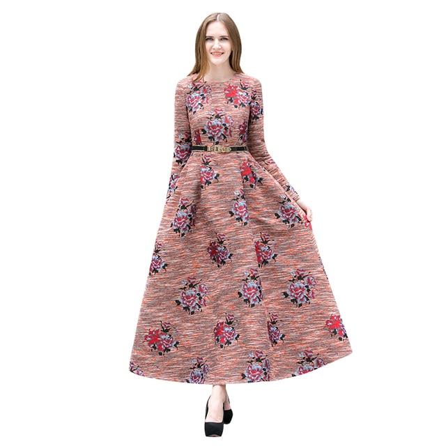 06797cb17 Lujo flores Bordado longitud de la vendimia vestido largo 2018 mujeres manga  larga ol estilo británico