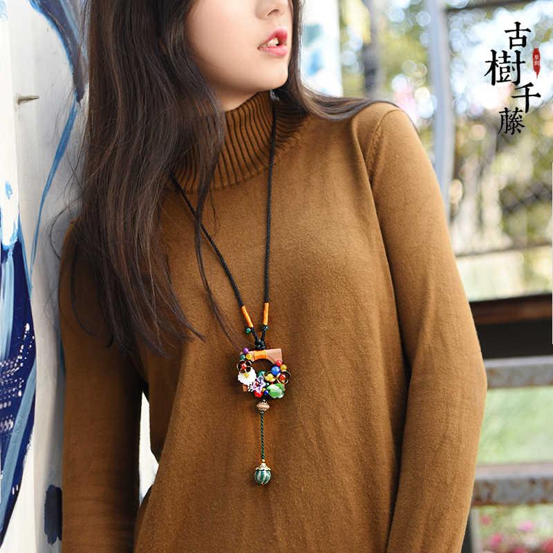 Винтажное колье свитер для женщин Этническая длинный деревянный квадратный кулон цепочки и Ожерелья себе модные украшения Dropshopping