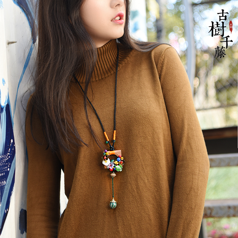 Vintage Sweater Necklace for women Ethnic Long Wood Square Pendant Necklace Statement Necklaces Fashion Jewelry Dropshopping