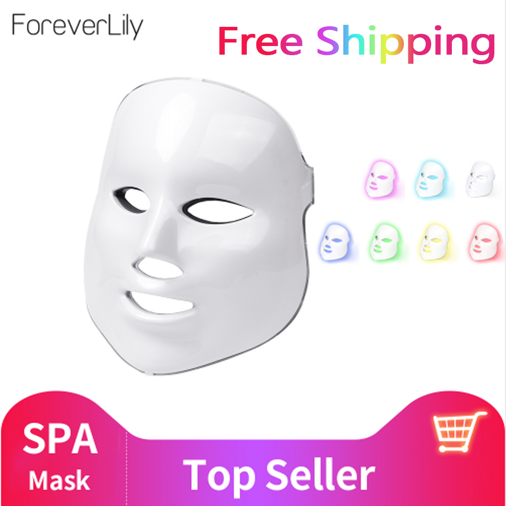 foreverlily Beauty Photon LED Facial Mask Therapy 7 colors Light Skin Care Rejuvenation Wrinkle Acne Removal Face Beauty Spa(China)