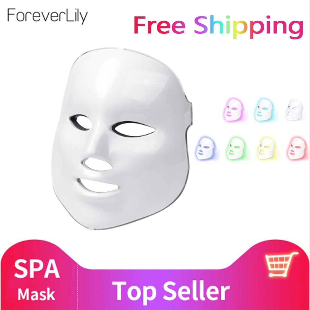 Foreverlily Schönheit Photon FÜHRTE Gesichts Maske Therapie 7 farben Licht Hautpflege Verjüngung Falten Akne Entfernung Gesicht Schönheit Spa