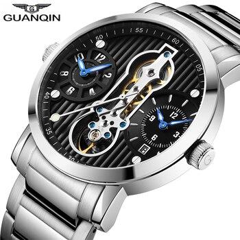 GUANQIN new 2018 Mechanical Tourbillon Automatic sport swimming Men Watches Waterproof GMT Skeleton Watches Relogio Masculino lo ultimo en reloj tourbillon