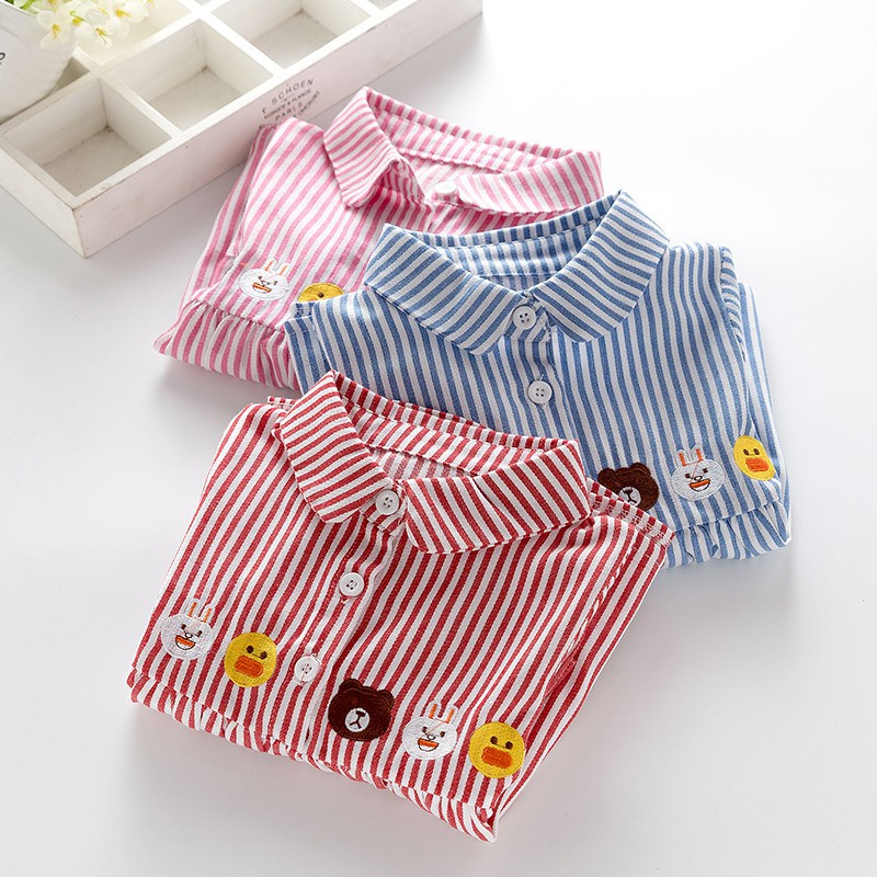 Girls Shirts 2018 New Spring Brand Baby Girls Blouse Red Flowers Embroidery Strip Kids Shirts Children Clothing цена 2017
