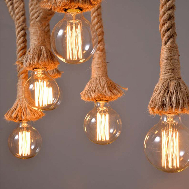 Livewin Rope Pendant Light Loft Rustic Country Style Hanging Lighting Restaurant Bar Lamps Deco