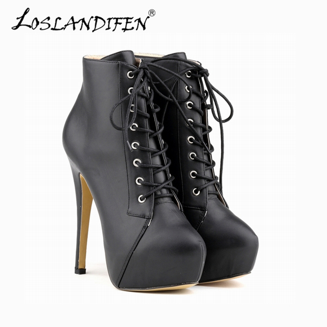 Sexy High Heels Platform ShoeWomen Ankle Boots Thin Heel Lace-Up Boots Shoes Rivet StrapSolid
