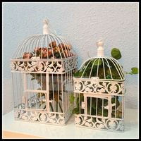 1PCS European style Fashion iron wrought iron birdcage white small bird cage decoration hanging bird cage metal birdcage