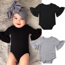 Hot Lovely 2019 New Newborn Infant Baby Girl Clothes Flared Sleeve Romper Jumpsuit Sunsuit Outfits 2017 hot cute baby girl romper newborn baby girl floral peter pan collar romper lovely sun hat clothes outfits 0 3y baby clothes