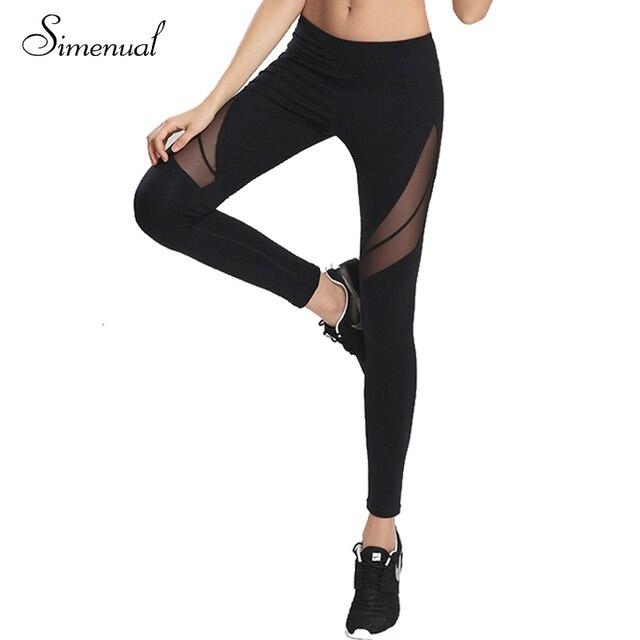 Fitness women mesh splice leggings athleisure 2016 sexy elastic legging harajuku bodybuilding slim black active trousers sale