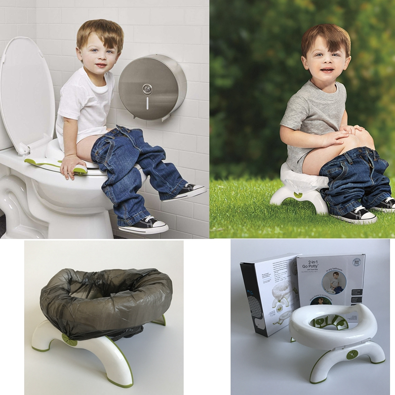 2 In 1 BPA Free Baby Potty Training Toilet Seat Boys Girls Kids Portable Car Travel Road Pot Children Folding Camping