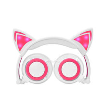 CE,US,ISO certificate Cat headphone Cosplay Fancy Music EarPhone Amazon Hot sell Children's cat ears with shiny folding headset(Hong Kong,China)