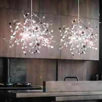 Lámpara de araña con hojas de acero inoxidable hecha a mano para sala de estar/dormitorio lamps for living room chandelier lamp for lamp -
