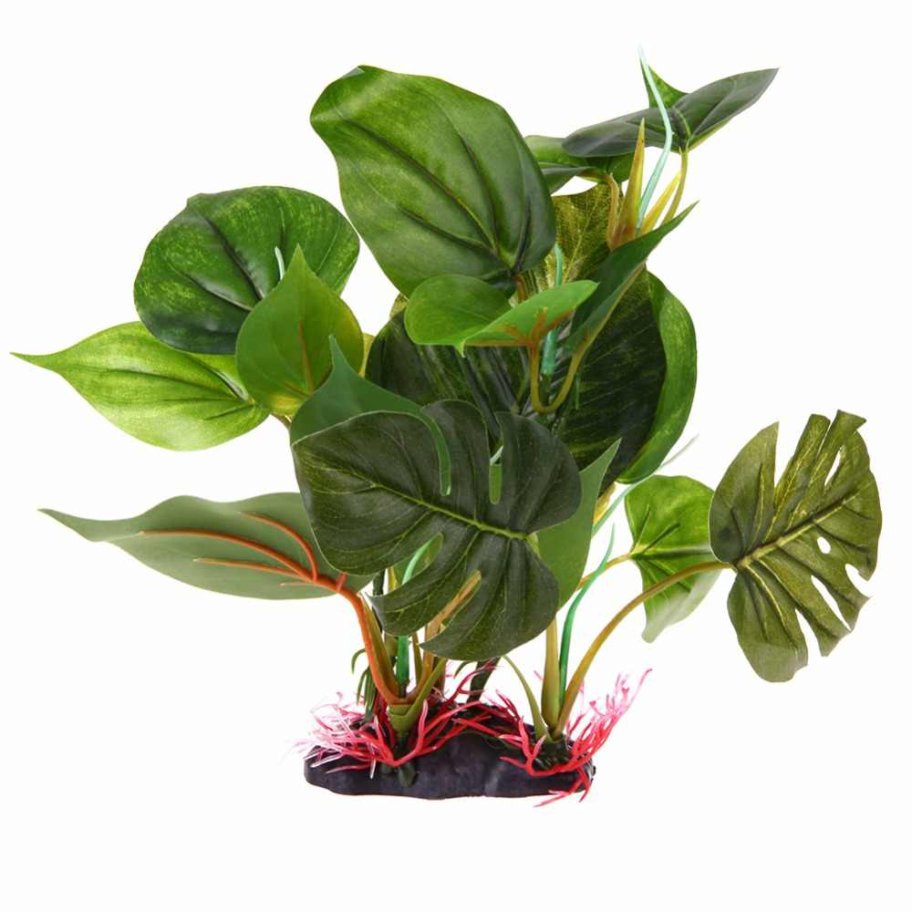 Large Leaf Aquatic Plant Simulation Purple Artificial Plastic Grass Fish Tank Water Plant Aquarium Decoration Ornament Decor
