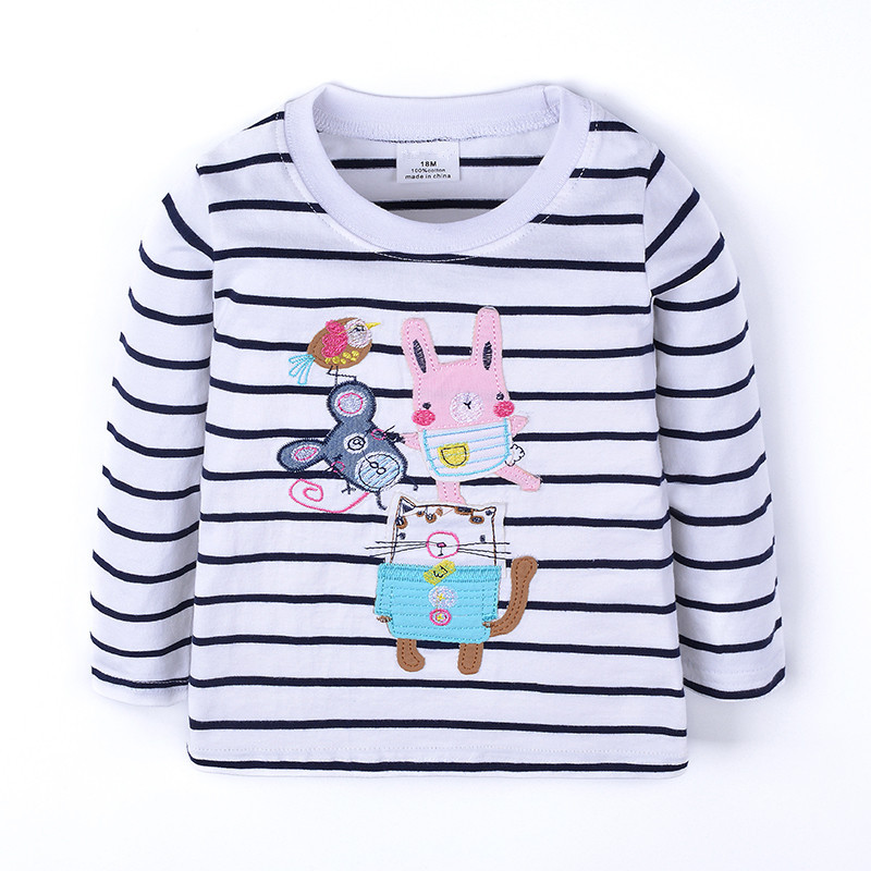 Baby girls new striped cartoon long sleeve t shirt kids t shirt with applique some cartoon images girls top quality clothing