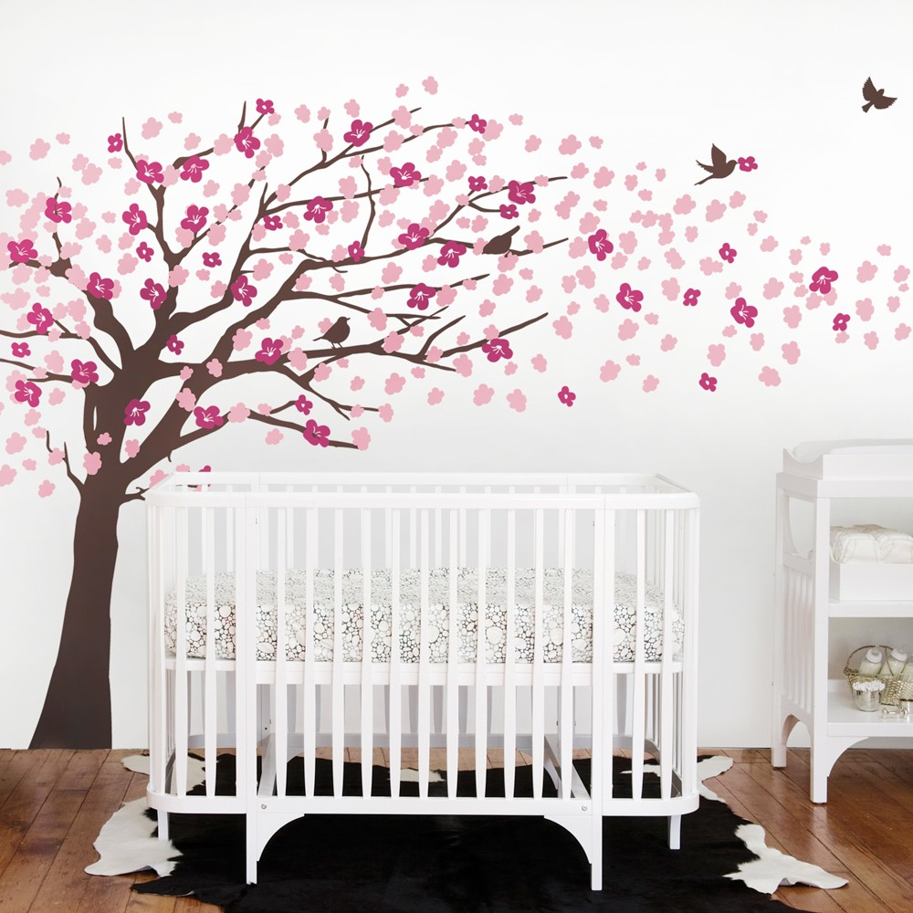 Large Tree With Flowers Wall Stickers Decor Living Room Kids Bedroom