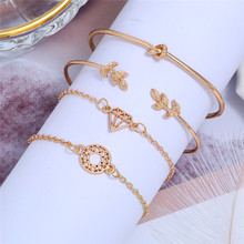 2019 New Fashion Gold Leaf Bangle 4pcs/Set  For Women Tree Leaf Shape Open Bracelets Set Wholesale Men And Women Gift Jewelry chic rhinestone and leaf shape embellished black and red sunglasses for women