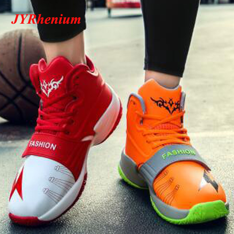 JYRhenium New Lace up Men Basketball Shoes High top Sneakers Two color Outdoor Zapatillas de baloncesto Big Size Adult Students in Basketball Shoes from Sports Entertainment