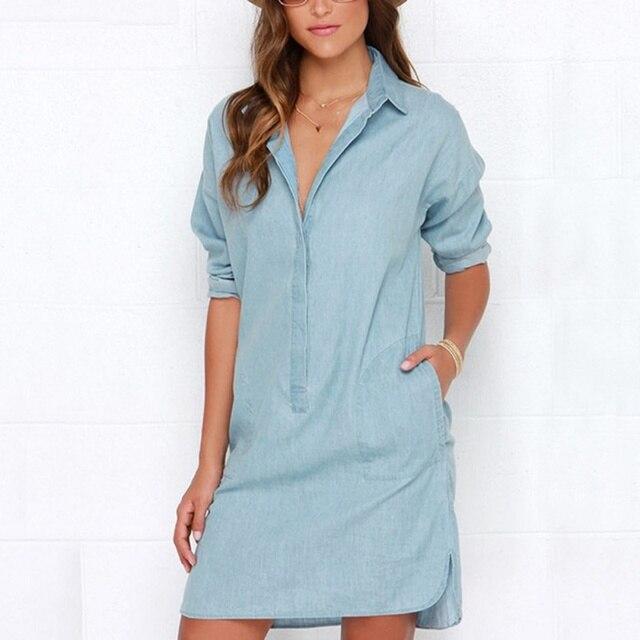 fb8ae8e91bc45 New Arrival Women Casual Dress Denim Blue Button Long Sleeve Blouse Shirt  Dresses