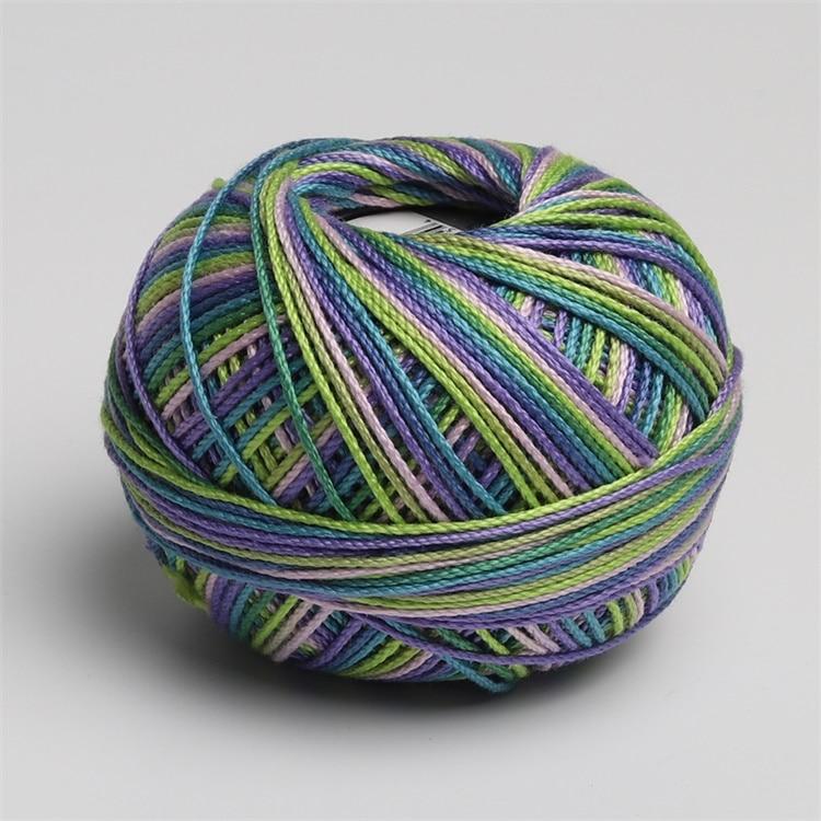 Размер 3 хлопок жемчуг пестрый 50 грамм мяч египетская длинноштапельная хлопковая пряжа газированная двойная мерсеризованная 6 нитей плетение - Цвет: 115