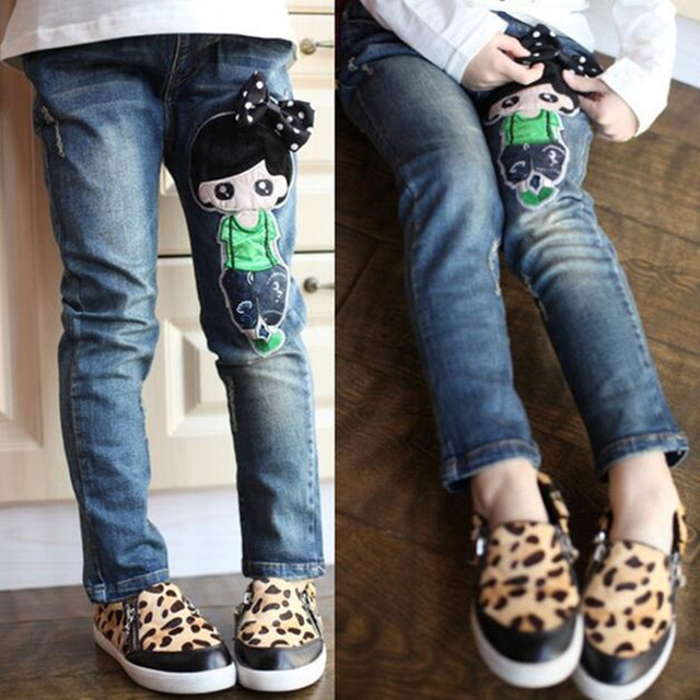 904744013761 2016 spring autumn female child jeans child trousers doll pattern girls ...
