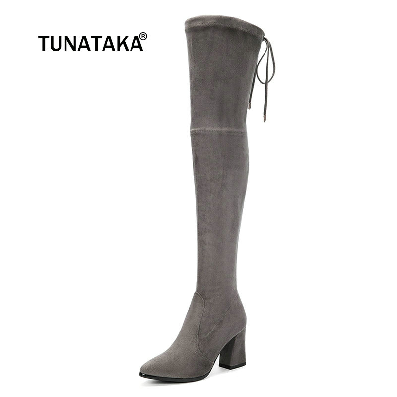Women Suede Comfort Square Heel Over The Knee Boots Fashion Pointed Toe Autumn Elastic Boots Black Gray Brown women suede slip on over the knee boots fashion winter rivet comfortable square heel elastic boots black gray dark gray