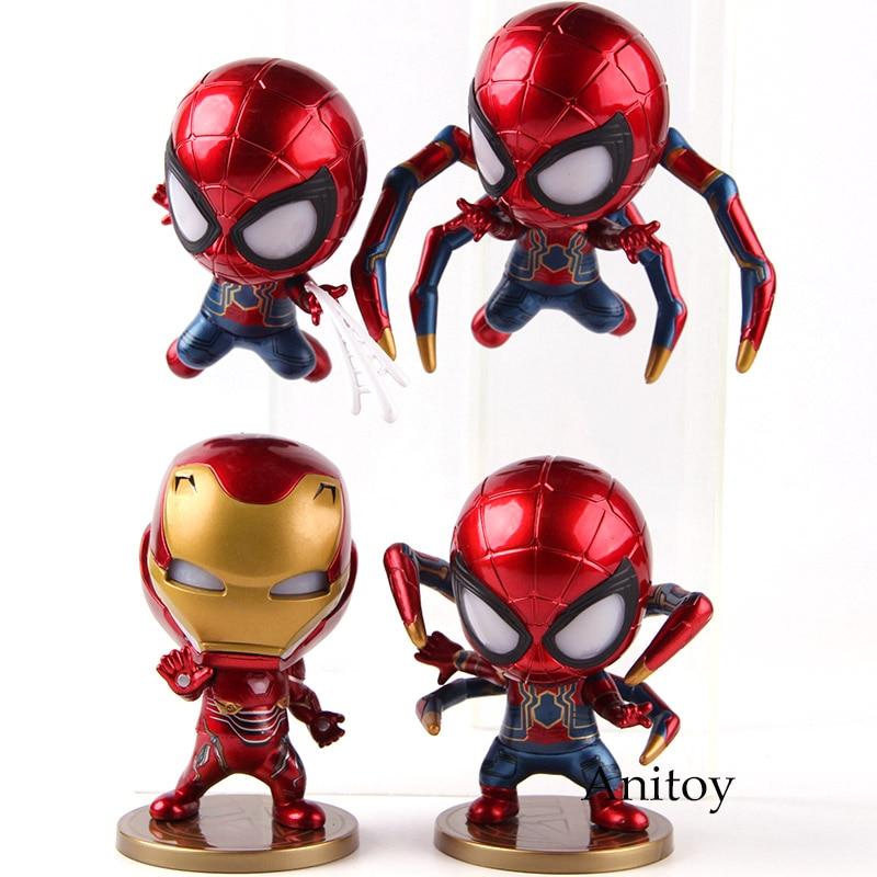 Avengers Infinity War Iron Spider Bobble Head Doll LED Light Figure Model Toy