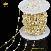 Fashion Chains Craft Earrings,5Meters 4mm White Pearl Plated Golden Wire Wrapped Links Round Pearl Beaded Chains Supplies HX145