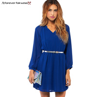 Women Summer Dress Long Sleeve V Neck Waist Elastic Black Red Blue Chiffon Brief Casual Dress
